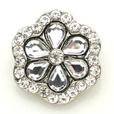 1 PC 18MM White Flower Rhinestone Silver Candy Snap Charm kb8877 CC1578