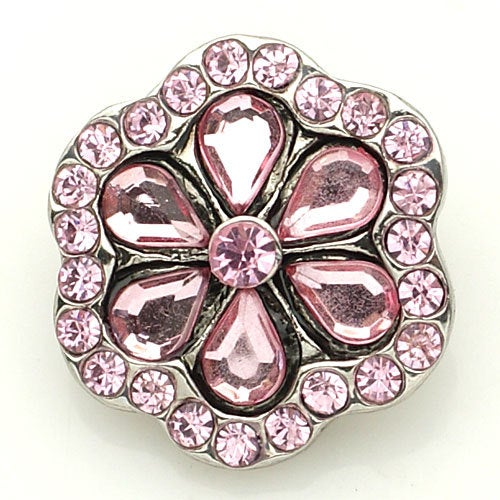 1 PC 18MM Pink Flower Rhinestone Silver Snap Candy Charm kb8878 CC1579