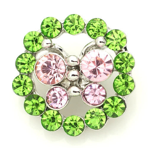 1 PC 18MM Pink Green Butterfly Rhinestone Silver Candy Snap Charm kb8892 CC1589