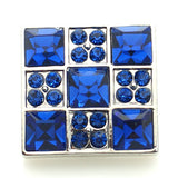 1 PC 18MM Blue Square Rhinestone Silver Snap Candy Charm kb8909 CC1600