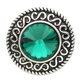1 PC 18MM Green Rhinestone Silver Candy Snap Charm kb6817 CC1531