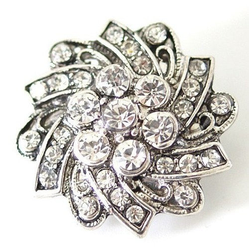 1 PC 18MM White Rhinestone Silver Candy Snap Charm kb7115 CC1532