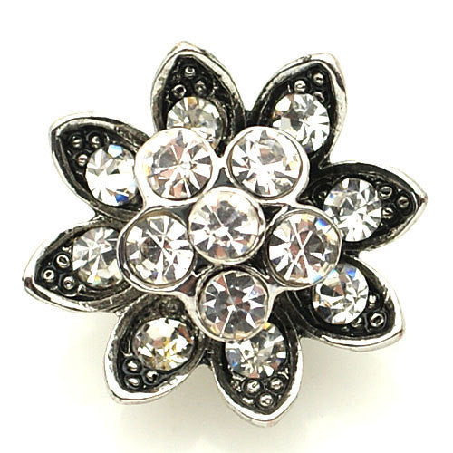 1 PC 18MM White Flower Rhinestone Silver Candy Snap Charm kb8857 CC1558