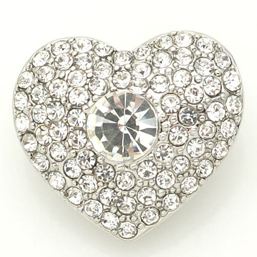 1 PC 18MM White Heart Rhinestone Silver Candy Snap Charm kb8872 CC1573