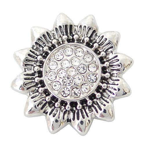 1 PC 18MM White Flower Rhinestone Silver Candy Snap Charm ds5126 CC1619