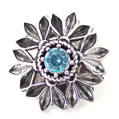 1 PC 18MM Blue Flower Rhinestone Silver Candy Snap Charm ds5134 CC1625