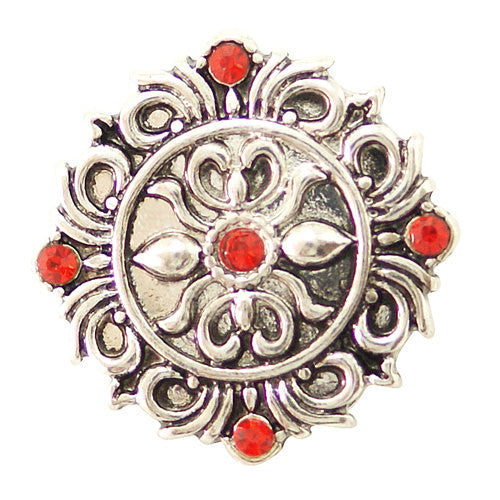 1 PC 18MM Red Flourish Rhinestone Silver Snap Candy Charm kb6486 CC1636