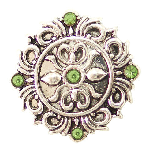1 PC 18MM Green Flourish Rhinestone Silver Snap Candy Charm kb6487 CC1637