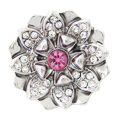 1 PC 18MM Pink Flower Rhinestone Silver Candy Snap Charm ds5125 CC1618