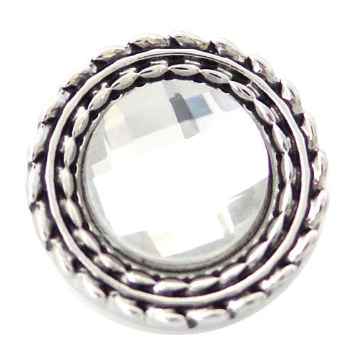 1 PC 18MM White Rhinestone Silver Candy Snap Charm ds5130 CC1623