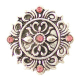 1 PC 18MM Pink Flourish Rhinestone Silver Candy Snap Charm kb6482 CC1634
