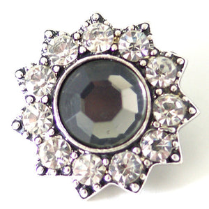 1 PC 18MM Gray Rhinestone Silver Snap Candy Charm kb7111 CC1520