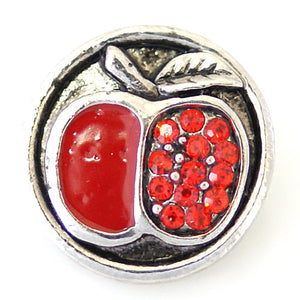 1 PC 18MM Apple Rhinestone Enamel Silver Snap Candy Charm kb8897 CC1746