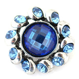 1 PC 18MM Blue Rhinestone Silver Snap Candy Charm kb8904 CC1656