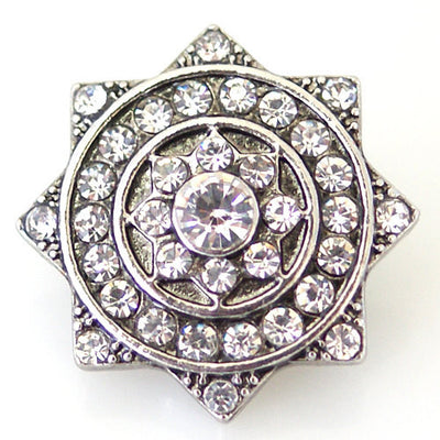 1 PC 18MM White Star Rhinestone Silver Snap Candy Charm kb8901 CC1747