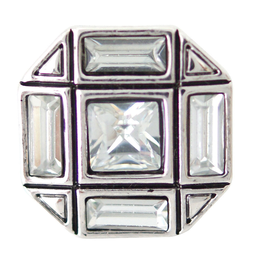 1 PC 18MM White Octagon Rhinestone Silver Candy Snap Charm ds5156 CC1671