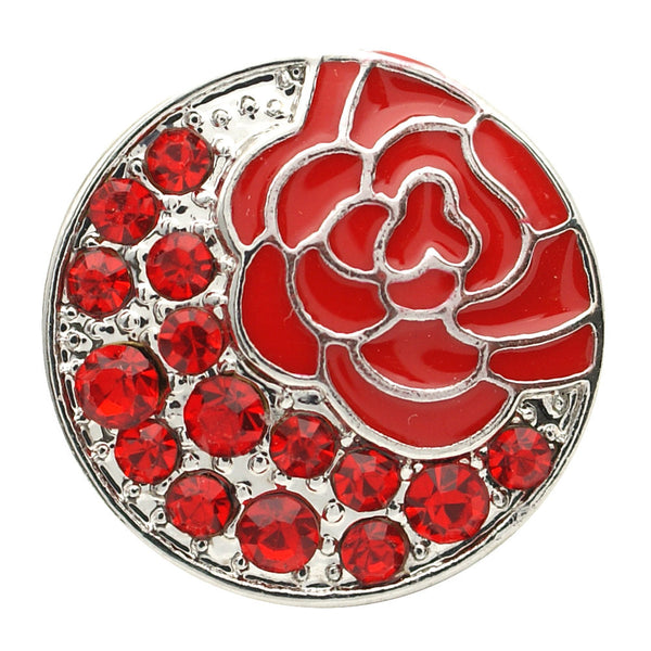 1 PC 18MM Red Enamel Flower Rhinestone Silver Candy Snap Charm kb7133 CC1733
