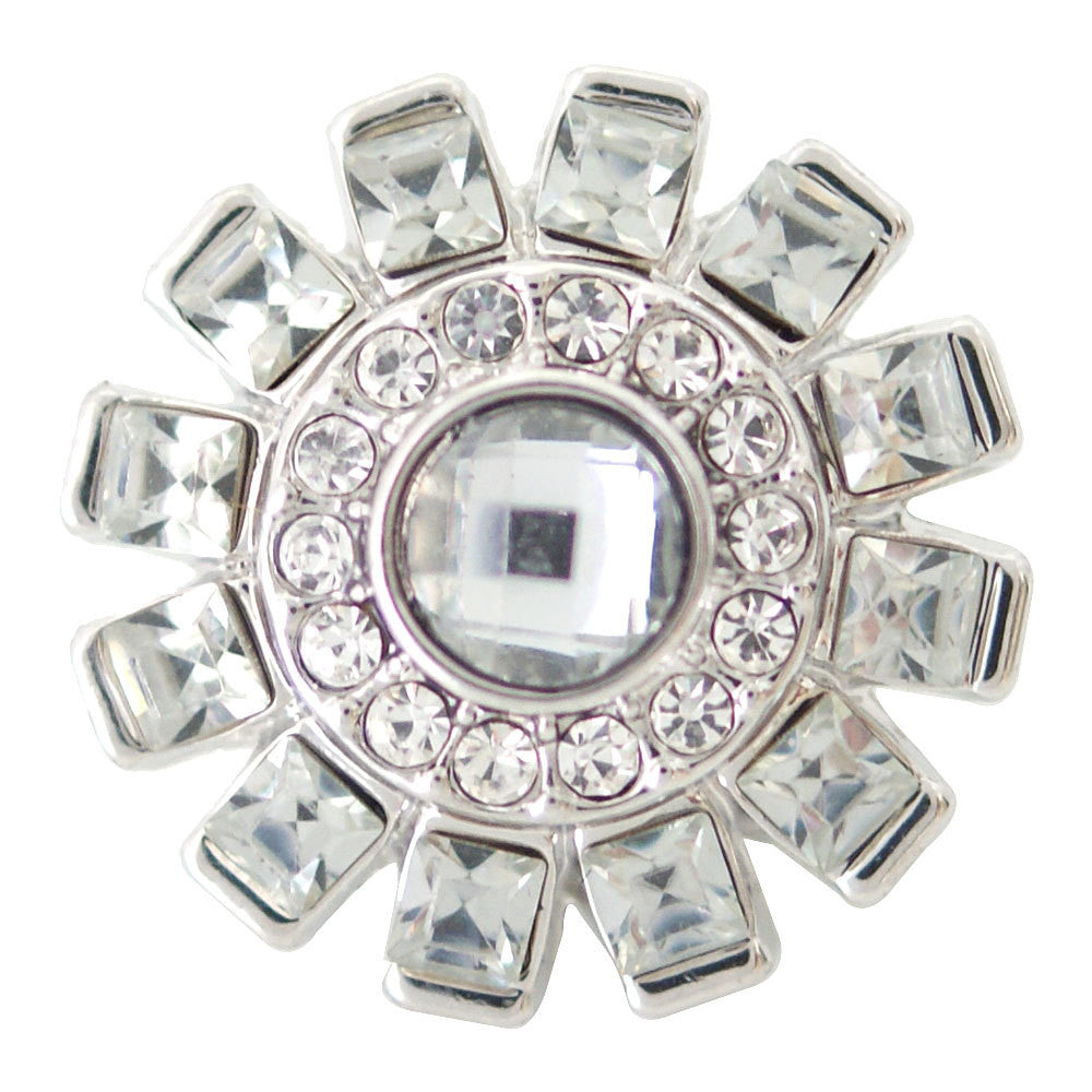 1 PC 18MM White Rhinestone Silver Candy Snap Charm ds5149 CC1655