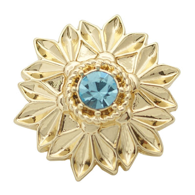 1 PC 18MM Blue Rhinestone Flower Gold Candy Snap Charm ds5172 CC1687