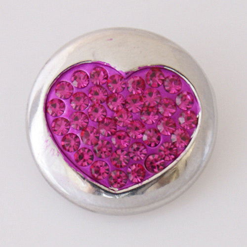 1 PC 18MM Hot Pink Rhinestone Heart Silver Candy Snap Charm kb5066 CC1691