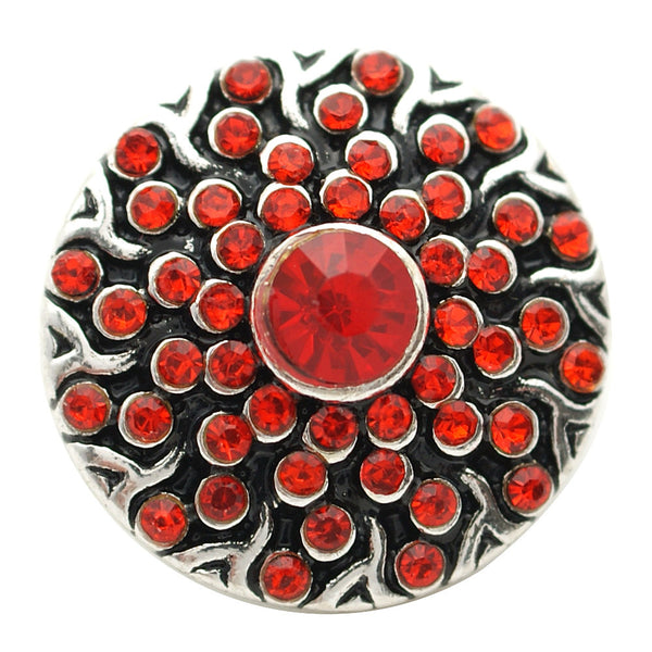 1 PC 18MM Red Flower Rhinestone Silver Candy Snap Charm kb7124 CC1724