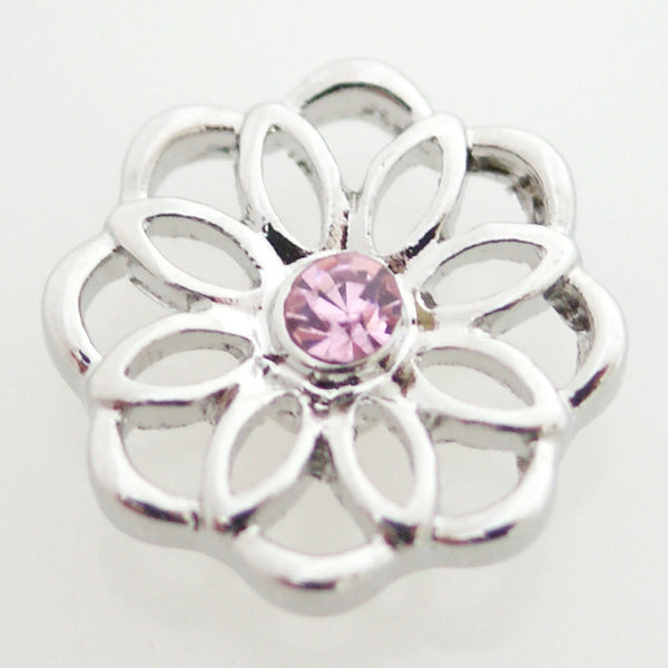 1 PC 18MM Pink Rhinestone Flower Silver Candy Snap Charm Jewelry kb7140 CC1756