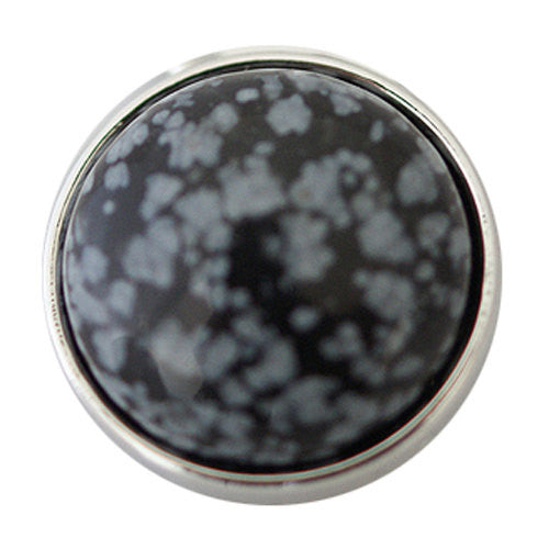 1 PC 18MM Black Gray Stone Silver Candy Snap Charm Jewelry kb2605 CC1753