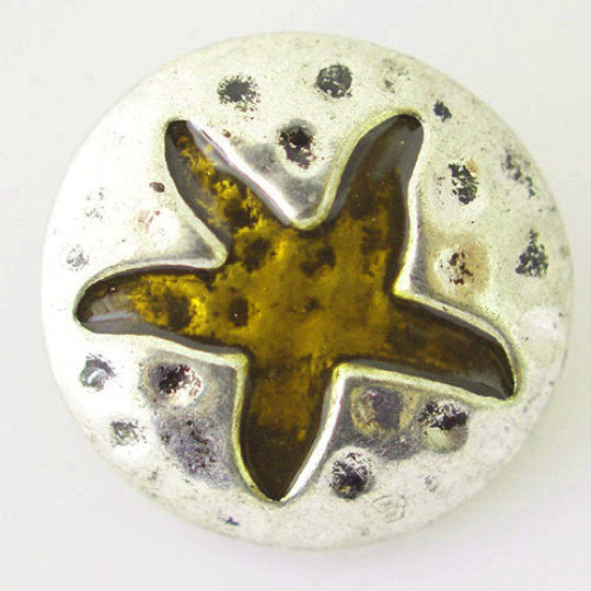 1 PC 18MM Brown Star Enamel Silver Candy Snap Charm KB6187 CC0104