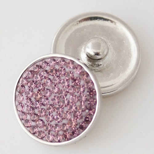 1 PC 18MM Purple Pink Rhinestone Silver Snap Candy Charm KB3822 CC1840