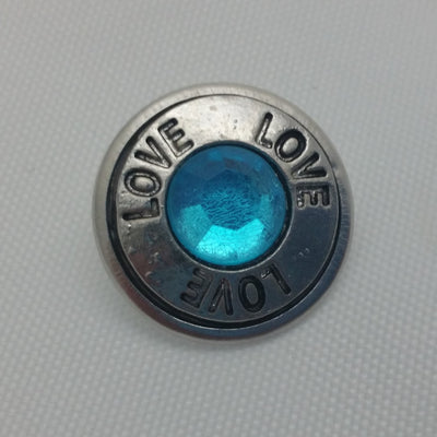 1 PC 18MM Love Blue Rhinestone Silver Snap Candy Charm Limited Edition CC1889