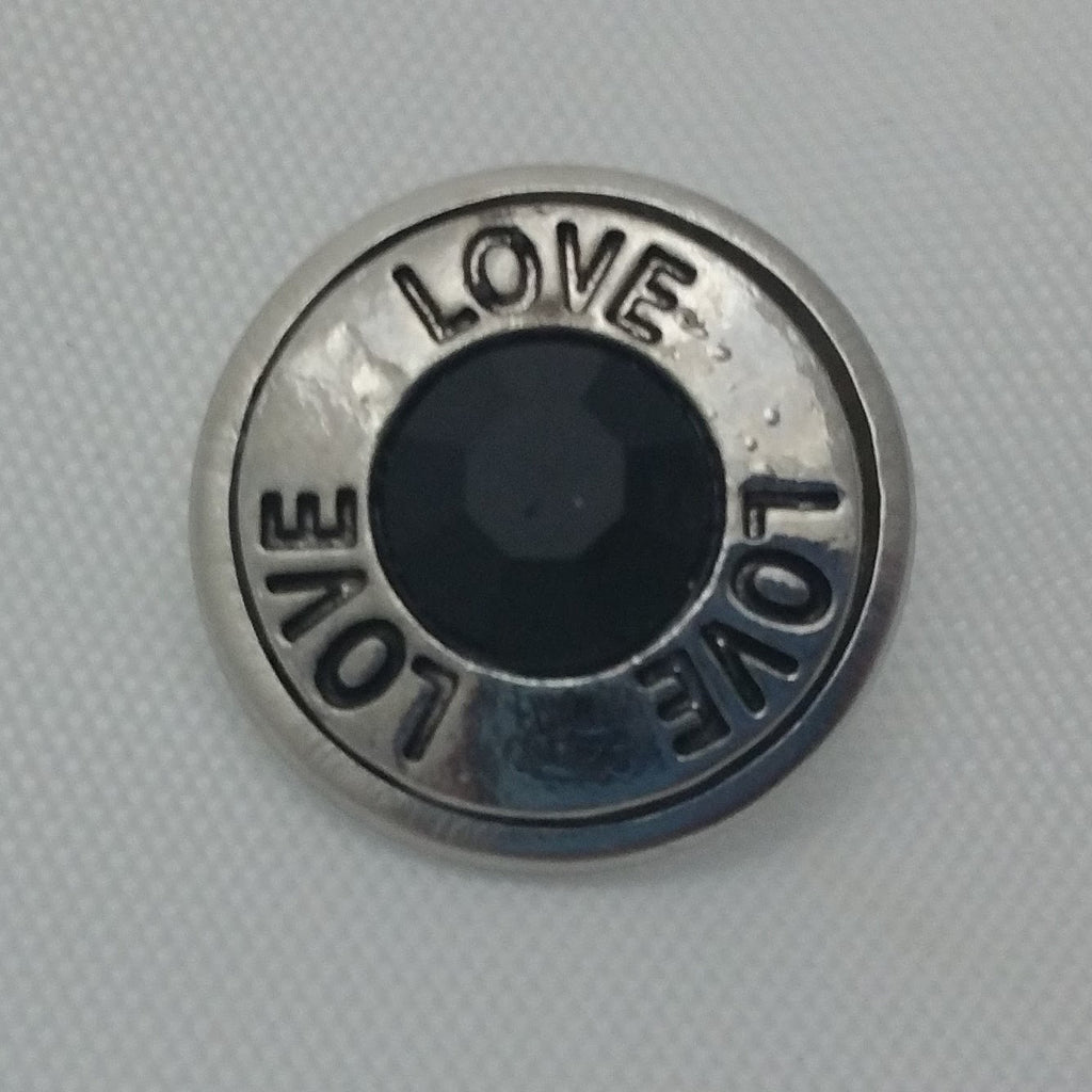 1 PC 18MM Love Black Rhinestone Silver Snap Candy Charm Limited Edition CC1894