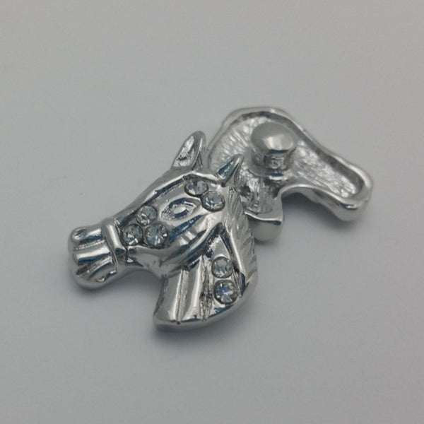 1 PC - 18MM Horse Rhinestone Silver Snap Candy Charm Limited Edition CC1938