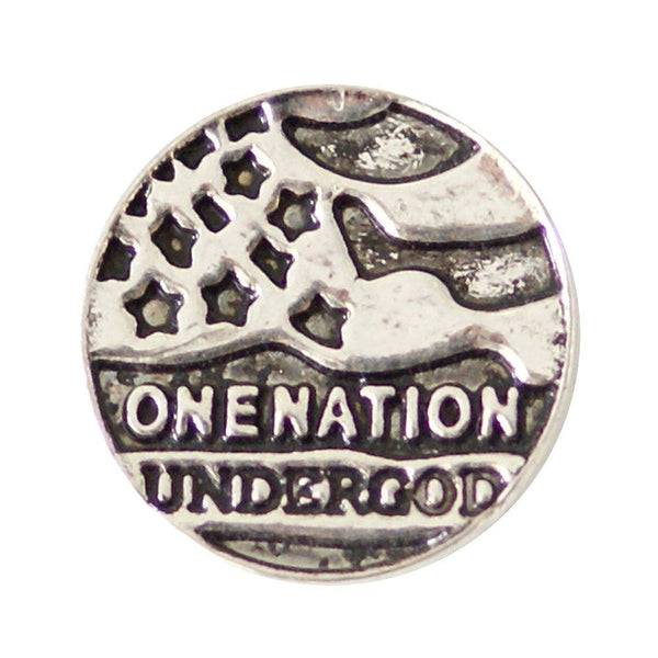1 PC - 18MM One Nation Under God Silver Snap Candy Charm kb6873 CC2004