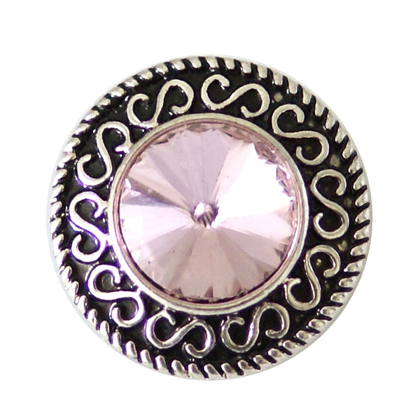 1 PC - 18MM Pink Rhinestones Silver Snap Candy Charm kb6900 CC2022