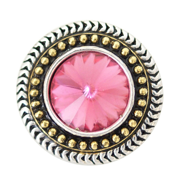 1 PC - 18MM Pink Rhinestones Silver Snap Candy Charm kb6909 CC2027