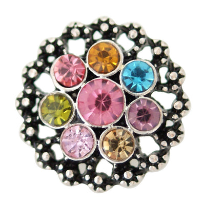 1 PC - 18MM Flower Rainbow Rhinestone Silver Snap Candy Charm kb6939 CC2047
