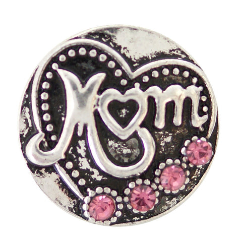 1 PC - 18MM Mom Heart Pink Rhinestone Silver Snap Candy Charm kb6940 CC2048