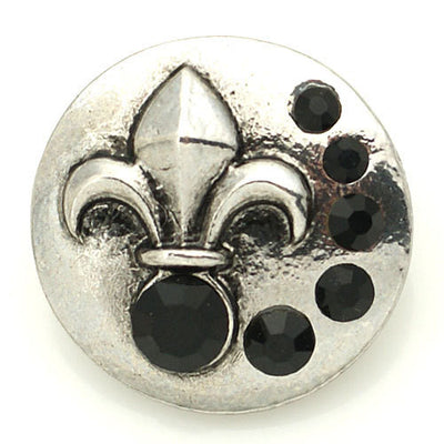 1 PC - 18MM Fleur De Lis Black Rhinestone Silver Snap Candy Charm KB8891 CC2054