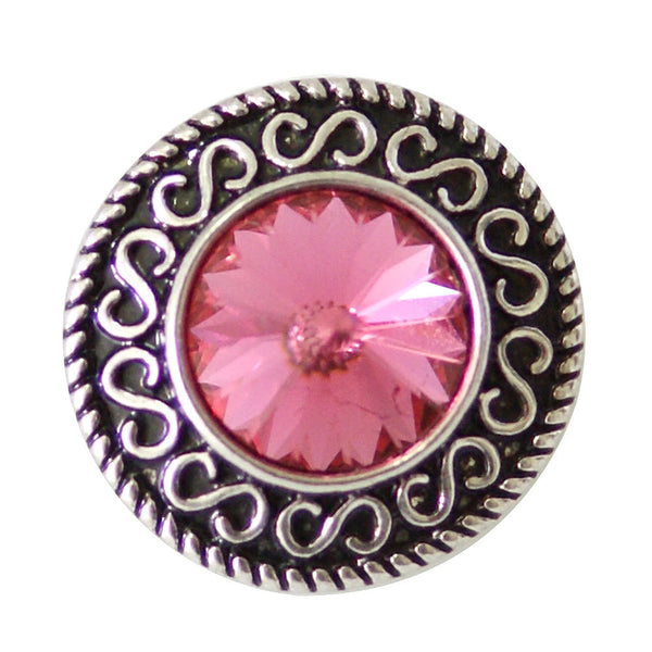1 PC - 18MM Pink Rhinestone Silver Snap Candy Charm KB6898 Cc2066