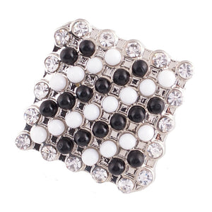 1 PC - 18MM Black White Rhinestone Silver Snap Candy Charm KC6014 CC2096