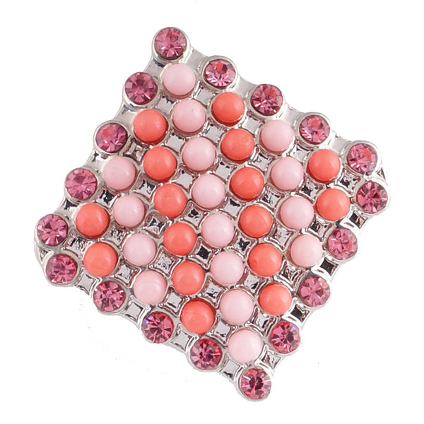 1 PC - 18MM Peach Pink Rhinestone Silver Snap Candy Charm KC6016 Cc2098
