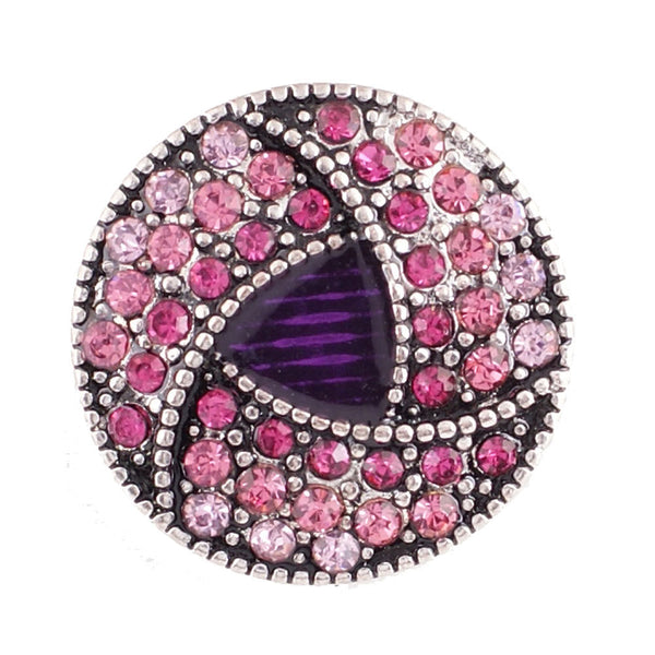 1 PC - 18MM Pink Purple Rhinestone Silver Snap Candy Charm KC6018 CC2100