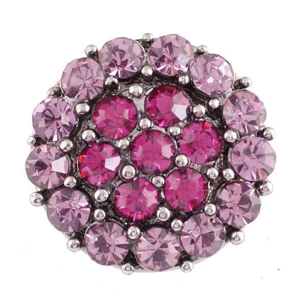 1 PC - 18MM Pink Rhinestone Silver Snap Candy Charm KC7015 Cc2117