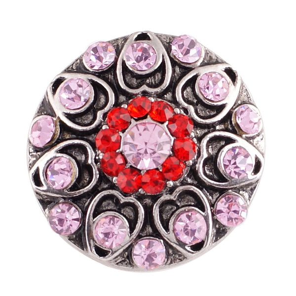 1 PC - 18MM Pink Red Rhinestone Silver Snap Candy Charm KC7039 Cc2140