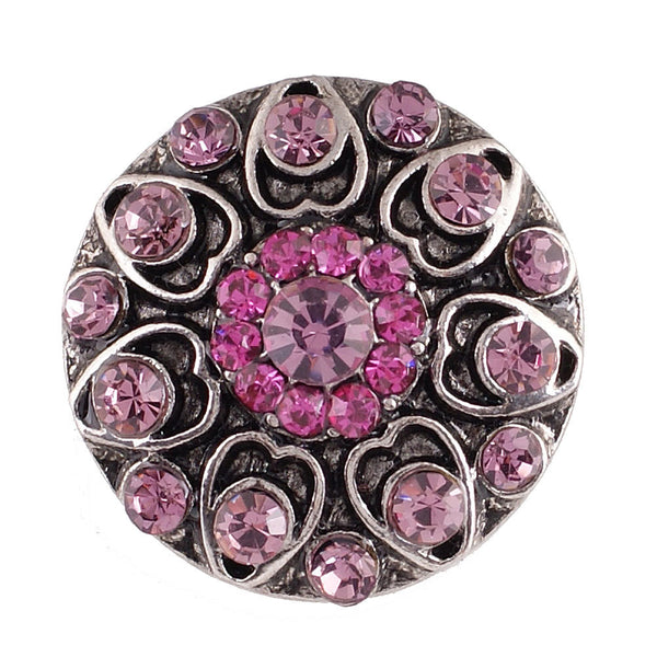 1 PC - 18MM Pink Rhinestone Silver Snap Candy Charm KC7044 Cc2145