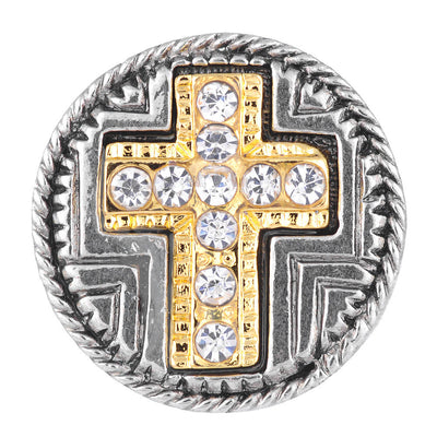 1 PC - 18MM Cross Rhinestone Gold Silver Charm for Candy Snap Jewelry KC7054 CC2208
