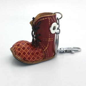 1 Red Leather Boot Keychain - FITS 12MM Candy Snap Charm Jewelry Silver Limited Edition CJ0405