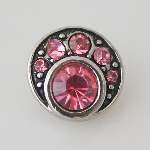 1 PC 12MM Pink Rhinestone Silver Candy Snap Charm Jewelry kb1526-s CC1767