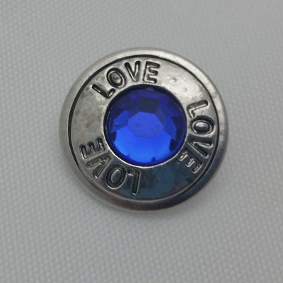 1 PC 18MM Love Blue Rhinestone Silver Snap Candy Charm Limited Edition CC1893
