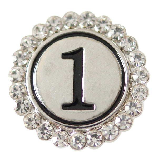 1 PC 18MM Number 1 Rhinestone Silver Snap Candy Charm KB7144 Cc1844